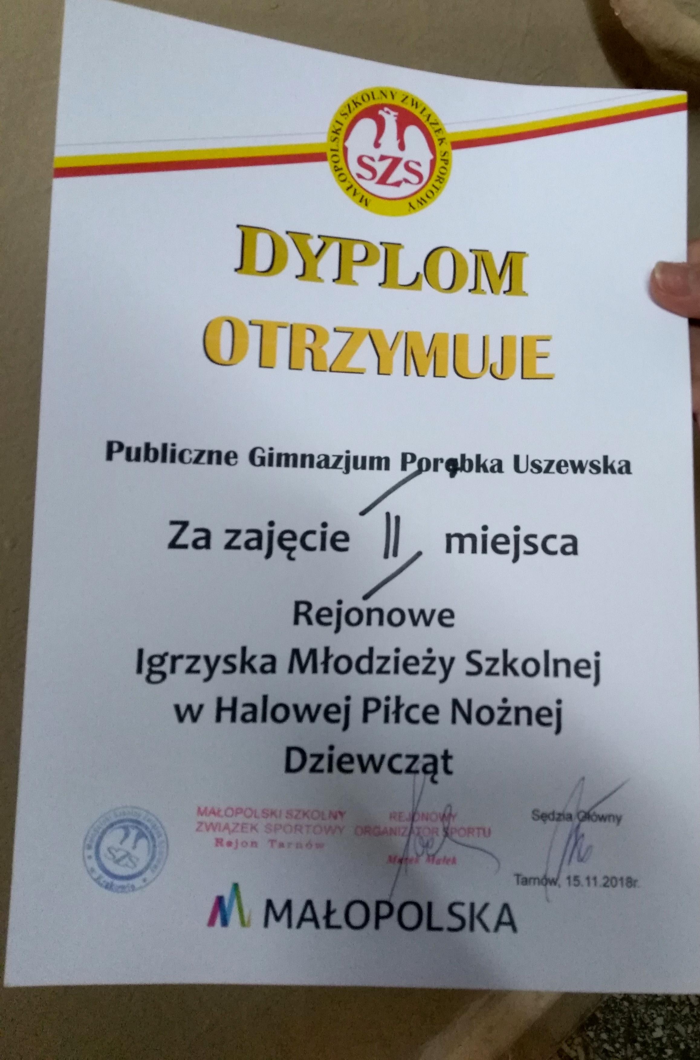 Zdobyliśmy Wicemistrzostwo Rejonu Tarnowskiego wHalowej!!!