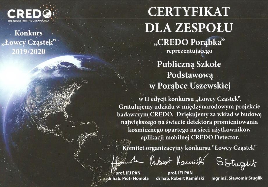 Certyfikat dla zespołu CREDO Porąbka